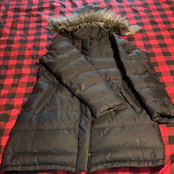 North face faux fur hooded puffer jacket